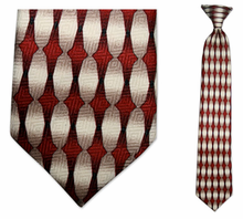 Boys Red Oval Pattern Clip On Tie