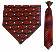 Junior Red Wave Pattern Silk 14 inch Clip On Necktie