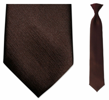 Boys Solid Brown Clip On Tie