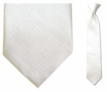 Junior Solid White 14 inch Clip On Necktie