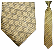 Junior Yellow Link Pattern Silk 14 inch Clip On Necktie