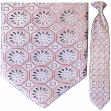 Men's 100% Silk Pink and Grey Geometric Pattern Tie