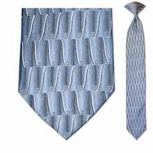 Men's Skinny Silk Sky Blue Pattern Clip-On Tie