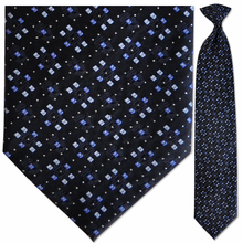 Men's Silk Woven Black, Blue + Silver Pattern Clip-On Tie