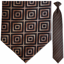 Men's 100% Silk Woven Brown & Black Geometric Pattern Ti