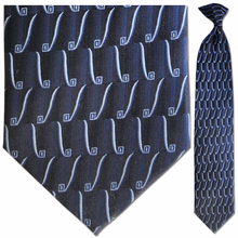 Men's Silk Woven Navy Geometric Pattern Clip-On Tie