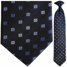 Men's Silk Woven Navy Blue Geometric Pattern Clip-On Tie