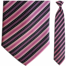 Men's Silk Woven Pink + Black Stripe Clip On Tie