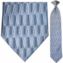 Men's 100% Silk Woven Sky Blue Pattern Tie