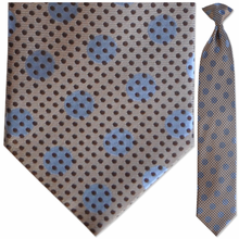 Men's Silk Woven Tan + Blue Dot Pattern Clip-On Tie
