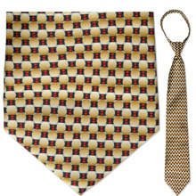 "Men's Beige & Red Oval Pattern 21"" Zipper-Tie"