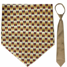 "Men's Beige & Red Oval pattern 23"" Zipper Tie"
