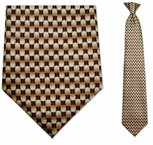 Men's Beige & Red Oval Pattern Clip on Necktie