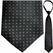 "Men's Woven Black & Grey Pattern 21"" Zipper Tie"