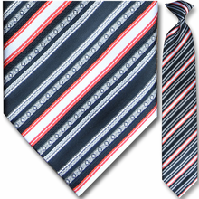 Men's Black, Red + White Striped Clip-On Tie