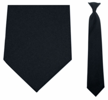 Men's Black Uniform Clip On Necktie
