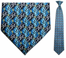Men's Blue/Black Flag Pattern Clip On Necktie