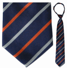 "Men's Woven Blue & Orange Striped 23"" Zipper-Tie"
