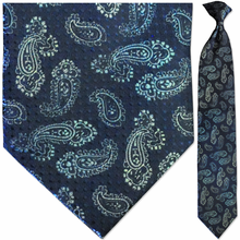 Men's Woven Blue Paisley with Dots Pattern Necktie