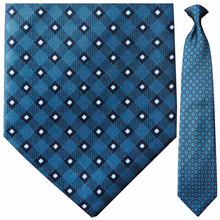Men's Bondi Blue Plaid Clip On Necktie