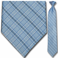 Men's Blue w/ White + Black Pin Stripe Plaid Clip-On Tie