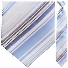 Men's Blue + White Multi Striped Clip On Tie