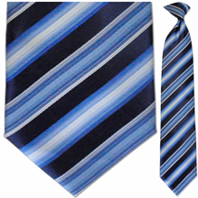 Men's Woven White, Blue + Navy Striped Clip On Tie