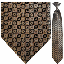 Men's Bronze Pattern Clip-On Tie
