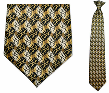 Men's Gold + Black Flag Pattern Clip-On Tie