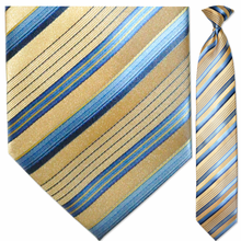 Men's Gold + Blue Striped Clip On Tie