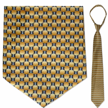 "Men's Gold & Grey Oval Pattern 21"" Zipper-Tie"