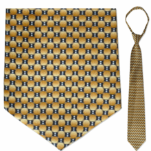 "Men's Gold & Grey Oval Pattern 23"" Zipper-Tie"