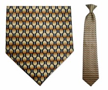Men's Gold & Grey Oval Pattern Clip On Necktie