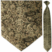 Men's Woven Gold Paisley Clip-On Tie