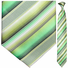Men's Green Stripes Clip-On Tie