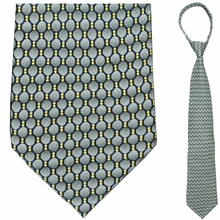 "Men's Grey & Black Oval Pattern 19"" Zipper Tie"