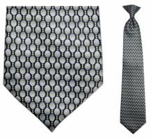 Men's Grey + Black Oval Pattern Clip-On Tie