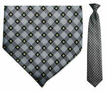 Men's Grey + Yellow Plaid Clip-On Tie