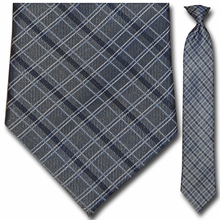 Men's Grey w/ Blue, White + Black Pin Stripe Plaid 19 inch Clip-On Tie