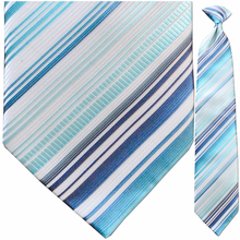 Men's Light Blue + White Striped Clip On Tie