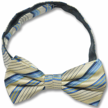 Men's Silk Woven Light Yellow & Blue Striped Adjustable Bow Tie