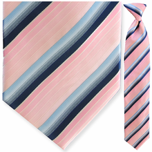Men's Pink + Blue Striped Clip On Tie