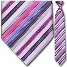 Men's Pink + Violet Striped Clip On Tie