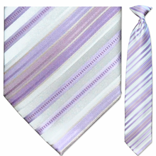 Men's Purple & White Striped Clip On Tie