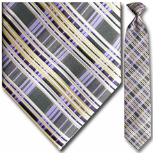 Men's Purple + Gold Plaid Clip-On Tie
