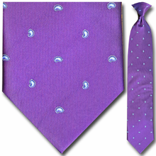 Men's Purple Small Paisley Clip-On Tie