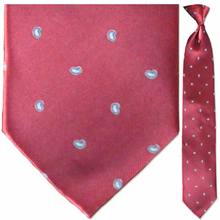 Men's Woven Red Small Paisley Pattern Clip-On Tie