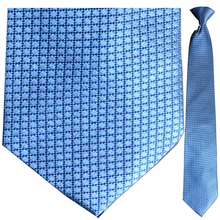 Men's Silk Woven Blue Boxes Pattern Clip-On Tie