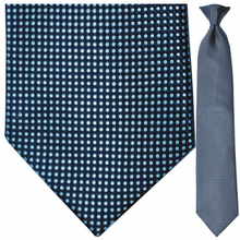 Men's Silk Woven Blue Dot Pattern Clip-On Tie