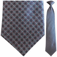 Men's Silk Woven Grey + Blue Circular Pattern Clip-On Tie